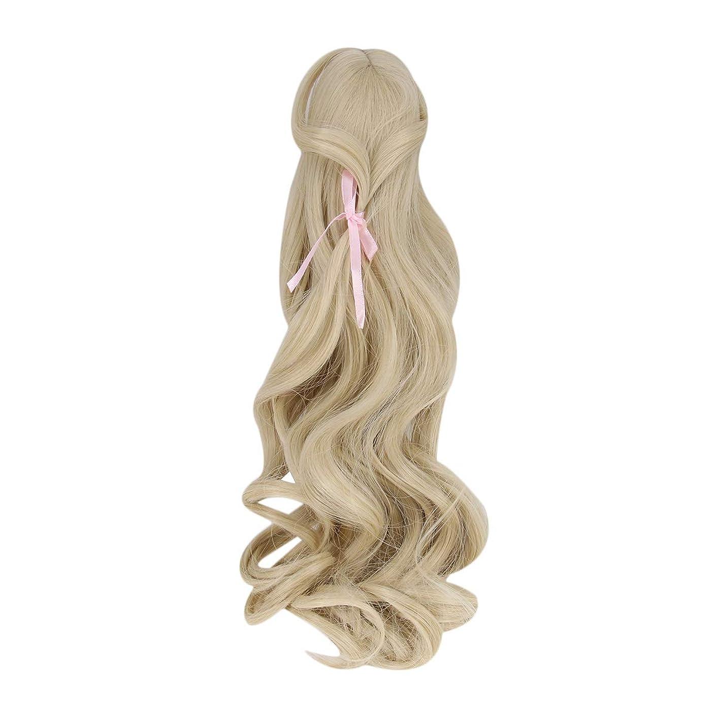 時拘束する高めるSUPVOX 人形のかつら長い巻き毛のかつらロリ高温シルクウィッグ装飾22?24センチメートル(ライトゴールデン)