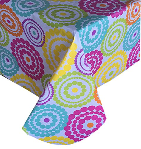 Newbridge Deco Dots Contemporary Indoor/Outdoor Flannel Backed Vinyl Tablecloth, Bright Polka Dot Waterproof Patio, Picnic, Kitchen, BBQ, Indoor Outdoor Tablecloth, 60 Inch x 84 Inch Oblong/Rectangle