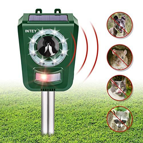 INTEY Tiervertreiber Katzenschreck Repellent Cat Ultraschall -Sonnenschutzmittel Solar Batteriebetrieben, für Katzen im Freien Sensitivität und Frequenz einstellbar, Ultraschallkatze zur Abwehr