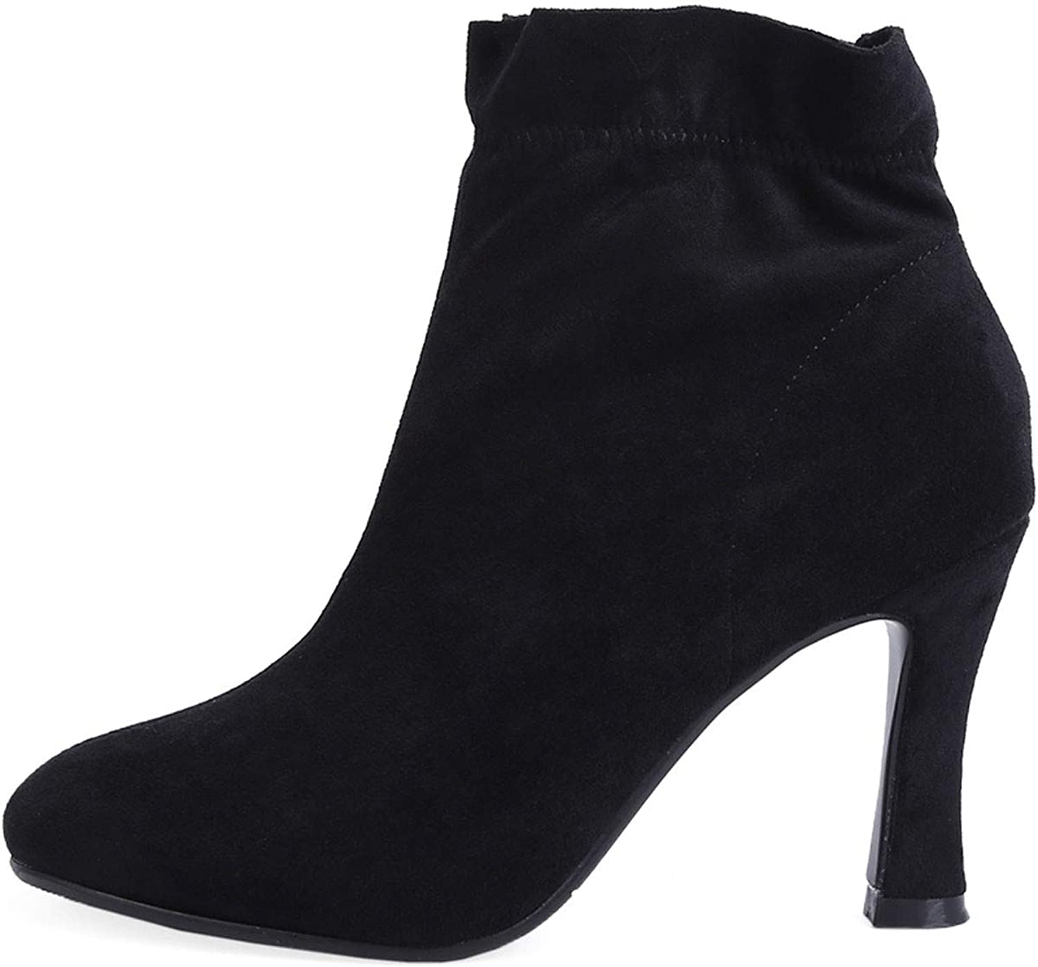 GTVERNH Women's shoes Square Head High-Heeled shoes Martin Boots 8Cm Fine Heel shoes Short Boots Elastic Boots and Bare Boots Women's shoes Fashion.