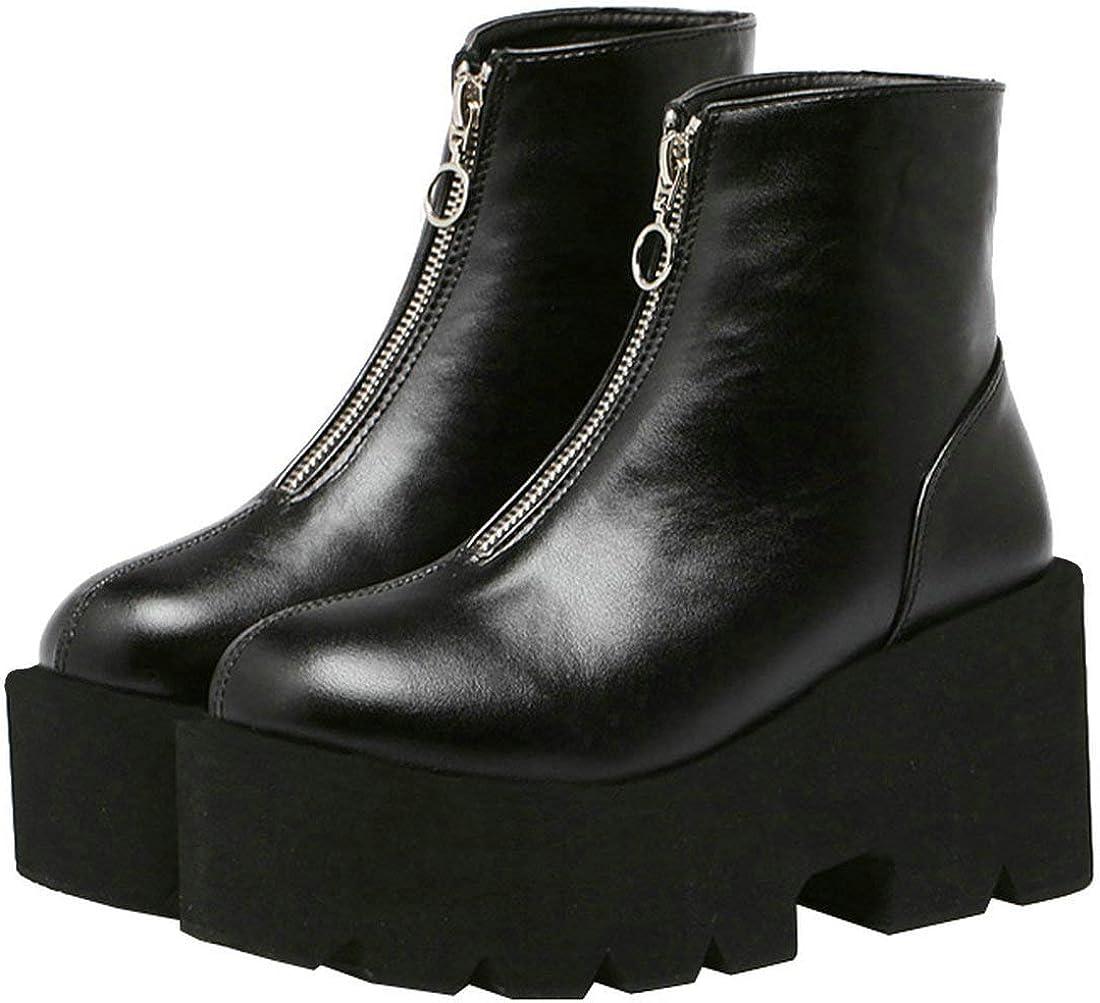 お気にいる MAVMAX Women Goth 本日の目玉 Platform Ankle Boots Wedge High Heel Chunky Go