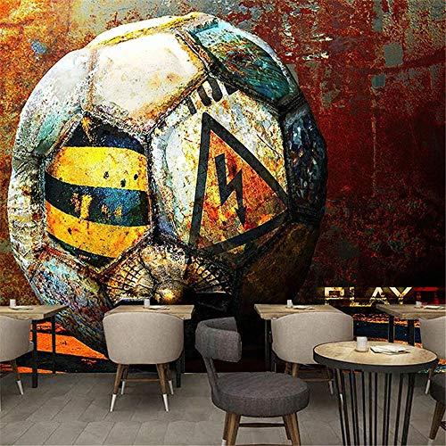 Benutzerdefinierte Wandbild Tapete 3D Retro Fabrik Fußball Metall Fresko Restaurant Cafe KTV Bar Hintergrund Wandmalerei Foto Tapeten Fußball-Über 250 * 175 cm