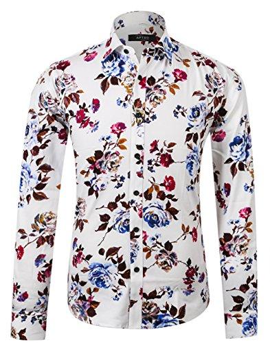 APTRO Herren Fashion Baumwolle Mehrfarbig Luxuriös Blumen Langarm Shirt APT1014, Rosa-weiß, L