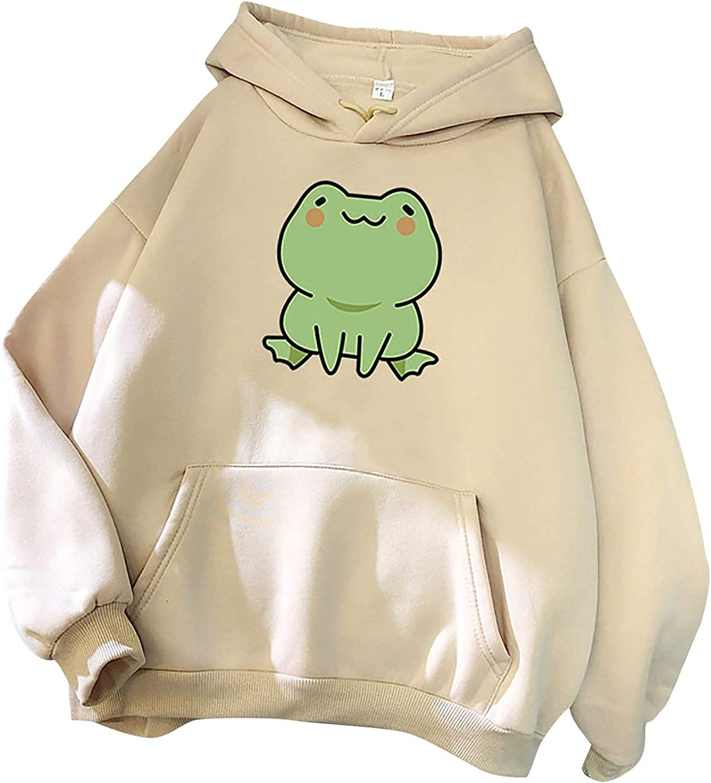 Women's Cartoon Frog Hoodies Long Sleeve Casual Oversized Sweatshirt Drawstring Teen Girls Pullover Tops with Pocket