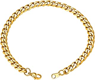GoldChic Jewelry Men's 8.3'' Miami Curb Cuban Link Chain Bracelet 3.5mm/6mm/9mm/12mm Wide, 18k Gold/Rose Gold/Black Plated in 316L Stainless Steel Hip Hop Cuban Bracelet