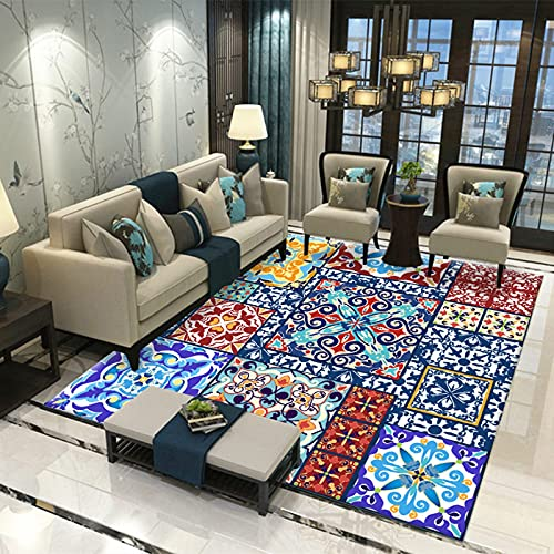 LBMTFFFFFF Casa - Alfombra de lujo con diseño de mármol, suave y delicado con la piel, rectangular, alfombra para dormitorio, alfombra de mesita, 120 x 160 cm