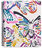 Vera Bradley Large Spiral Notebook with Pocket and 160 Lined Pages, Butterfly Flutter