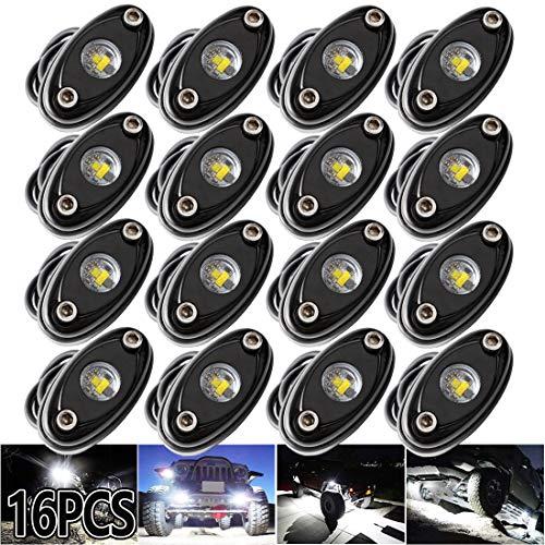 LEDMIRCY LED Rock Lights White 16PCS for Je ep Trucks RZR Off Road Boat Car Auto ATV UTV SUV Underglow Trail Trai Rig Lights Underbody Neon Lights High Power Waterproof Shockproof(16PCS-White)