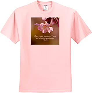 3dRose Alexis Design - Quotes Inspirational - Romantic Voltaire Quote. Love is a Canvas furnished by Nature - T-Shirts