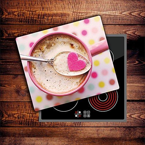 CTC-Trade | Herdabdeckplatten 60x52 cm Ceranfeld Abdeckung Glas Spritzschutz Abdeckplatte Glasplatte Herd Ceranfeldabdeckung Küche Pink Kaffee