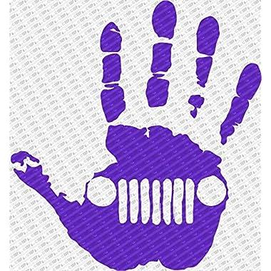 Jeep Wave Hand Vinyl Decal Sticker fits Jeep Wrangler Rubicon JK TJ YJ CJ (6 , Purple)