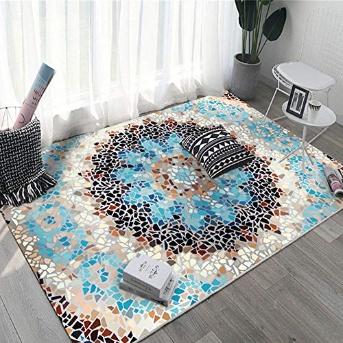 Alfombra Para Salon La alfombra de salón azul fresca y pequeña de mármol de grava es antisuciedad y duradera Alfombra Perros Sin Desvanecimiento Habitación De Los Niños La Alfombrer azul Los 40X60CM