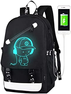 Anime Luminous Backpack for Boys, 15.6'' Laptop Backpack with USB Charging Port, Bookbag for School with Anti-Theft Lock, Black Travel Backpack Cool Back Pack for Work