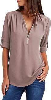 Womens Casual Sleeveless V Neck Cuffed Pleated Zip Up Chiffon Blouse Shirts