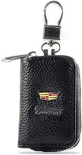 Car Key Case for Cadillac,Car Key Fob Holder,Genuine Leather Key Chain Protect Remote Control Key from Damage Smart Key Ke...