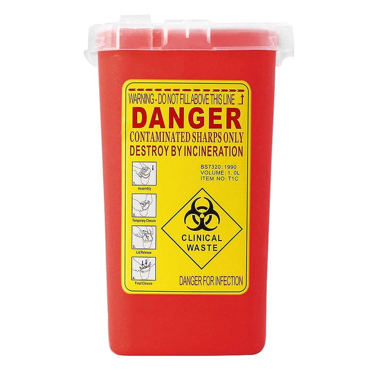 長いです八百屋さん櫛タトゥー医療プラスチックシャープコンテナバイオハザードニードル処分1Lサイズゴミ箱用感染廃棄物ボックス収納 - 赤