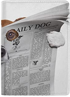 Dog Reading Newspaper Or Magazine Blocking Print Passport Holder Cover Case Travel Luggage Passport Wallet Card Holder Made With Leather For Men Women Kids Family