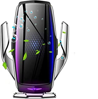 شاحن سيارة لاسلكي ذكي بمشبك أوتوماتيكي من KMI CHOU E5 - حامل شاحن سيارة 10 وات شحن سريع لهاتف iPhone Xs Max/XR/X/8/8Plus S...