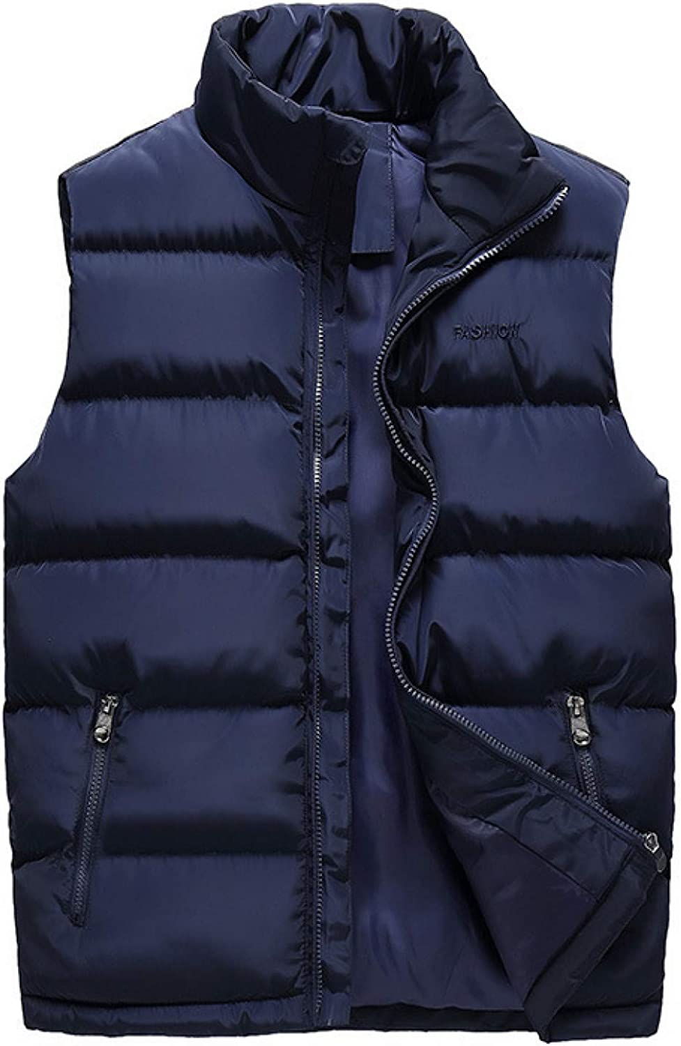 Men's Lightweight Packable Down Puffer Vest Water-Resistant Down Coat Stand Collar Quilted Sleeveless for Outdoor Travel