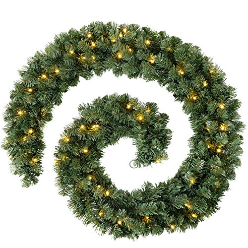WeRChristmas Pre-Lit Extra Thick Pine Garland Christmas Decoration with 80-LED, Green, 9 feet