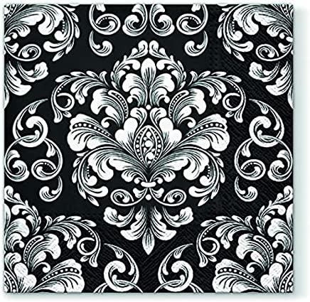 10 stück x Servietten Schwarz weiß Muster Blumen  ornamente 2 Black WHITE