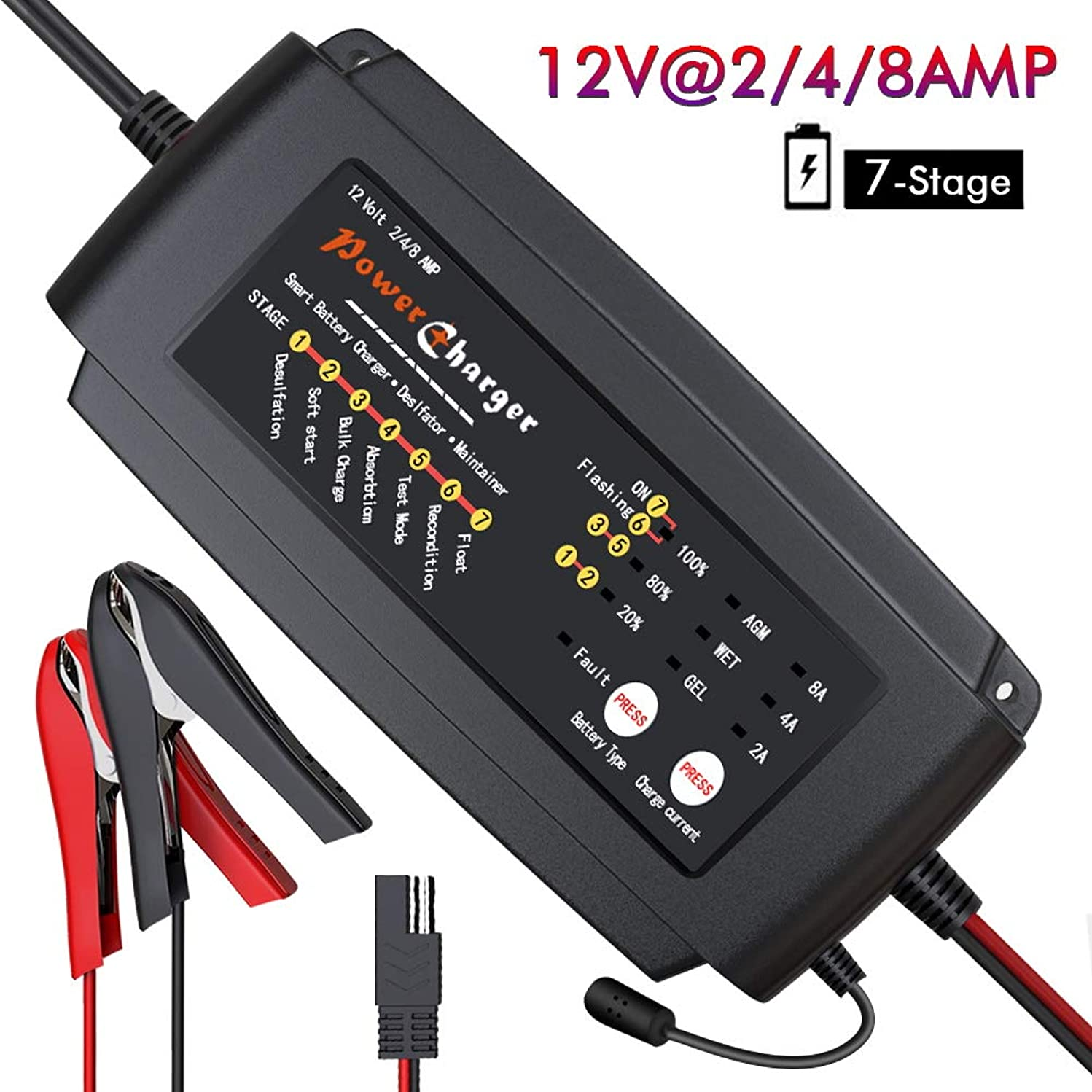 BMK 12V 2/4/8A Smart Battery Charger Portable Trickle Battery Maintainer with 7-Stage Fast Charging IP64 Waterproof Trickle Charger for Car Boat Lawn Mower Marine Sealed Lead Acid Batteries