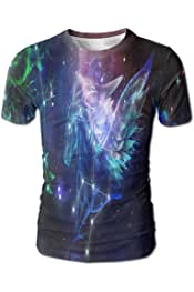 YOIGNG Hawaiian 3D Printed Pisces Constellation T-Shirt Short Sleeve Crewneck Tee Pullover Casual Tops