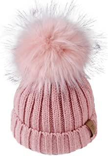 کلاه بافتنی بچه گانه زمستانی Pom Beanie Bobble کلاه پنبه ای Faux Fur Ball Pom Pom Cap Unisex Kids Beanie Hat Hat