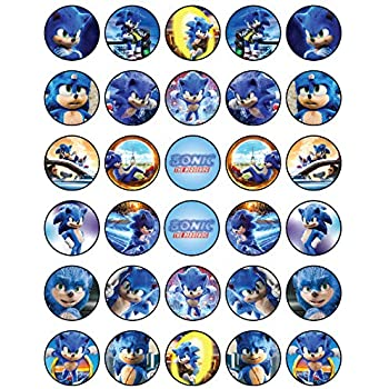 Amazon Com 12 Sonic Boom Rings Cupcake Toppers Birthday Party Favor Hedgehog Tails Sega Kitchen Dining