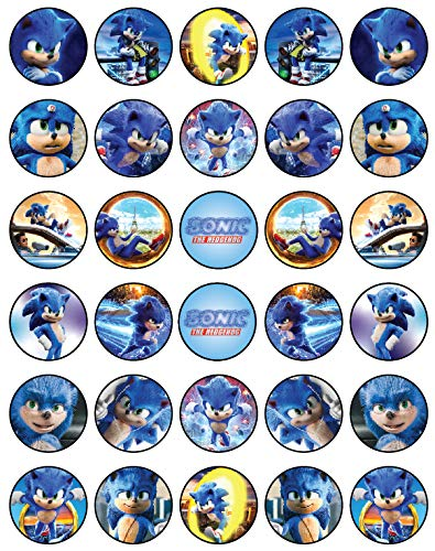 30 x Edible Cupcake Toppers Themed of Sonic New Movie Collection of Edible Cake Decorations | Uncut Edible on Wafer Sheet
