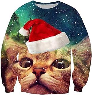 Cutiefox 3D Print Crew Neck Pullover Ugly Christmas Sweater Sweatshirts