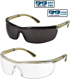 2 Pairs Safety Glasses, Mpow Safety Glasses with Clear, Anti Fog, Anti-Scratch, UV Protection, Adjustable Arms Eye Protection for Woodworking & Weeding, and Workplace Safety.