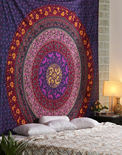 RAJRANG BRINGING RAJASTHAN TO YOU Tapiz Hippie - Tapices Grande Colgar en la Pared Mandala Bohemio Wall Hanging Tapestry - Azul - 228 x 213 cm