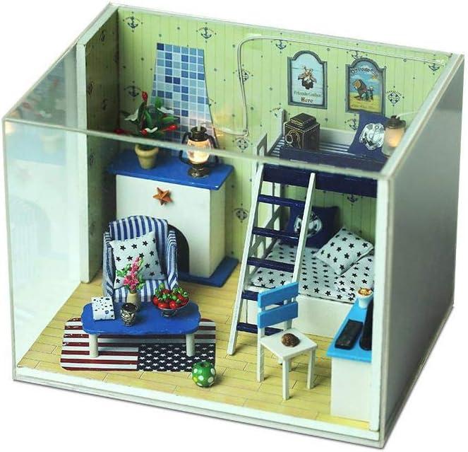 B-D Free Shipping Cheap Bargain Gift 3D favorite Boy's Handmade Dollhouse Miniature DIY Kit Roo Blue House