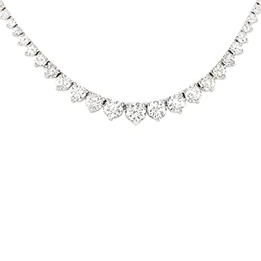 6.5 Carat Natural Diamond (F-G Color, VS1-VS2 Clarity) 14K White Gold Luxury Tennis Necklace for Women Exclusively Handcrafted in USA