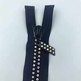 WKXFJJWZC 2pcs 24inch 60cm Black Dual-Strand Czech Crystal Zippers AB Crystal Rhinestone Separating Zippers Base Dress Colthes Sewing (Black)