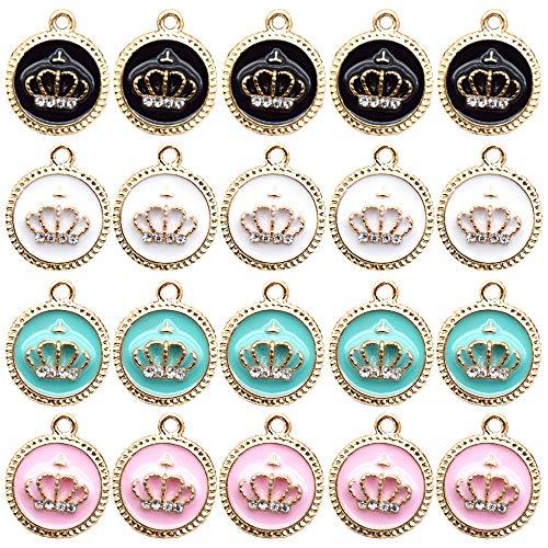 Nifocc - Ciondoli a forma di crown smaltati a forma di diamante, diversi ciondoli colorati con foro per collana e bracciali, orecchini, produzione di gioielli – 20 pezzi in 4 colori