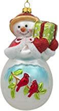 BestPysanky Snowman with Red Cardinals Holding a Gift Glass Christmas Ornament 5 Inches