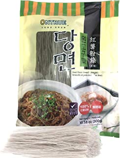 ONTRUE Sweet Potato Glass Noodles, Korean Vermicelli Pasta, Fat-free and Gluten-free, 100% Sweet Potato Starch, No Additive, No Alum inside, 10.58 Oz (300g)