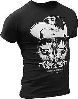 Thug Skull T-Shirt by Detroit Rebels | Mens Black Tshirt Vintage Skyline Style