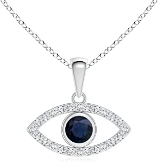 Details about  /30cts Blue Sapphire /& CZ Dia 14K Solid White Gold Plated Womens Silver Necklace
