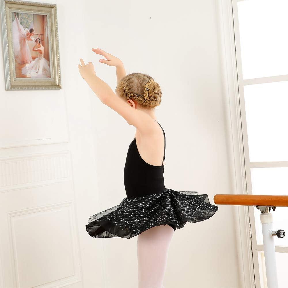 M/ädchen Ballettkleid Ballett Trikot Ballettanzug Kinder Ballettkleidung Tanzkleid Tanzk/örper aus Baumwolle mit Chiffon Bling Stars Rock