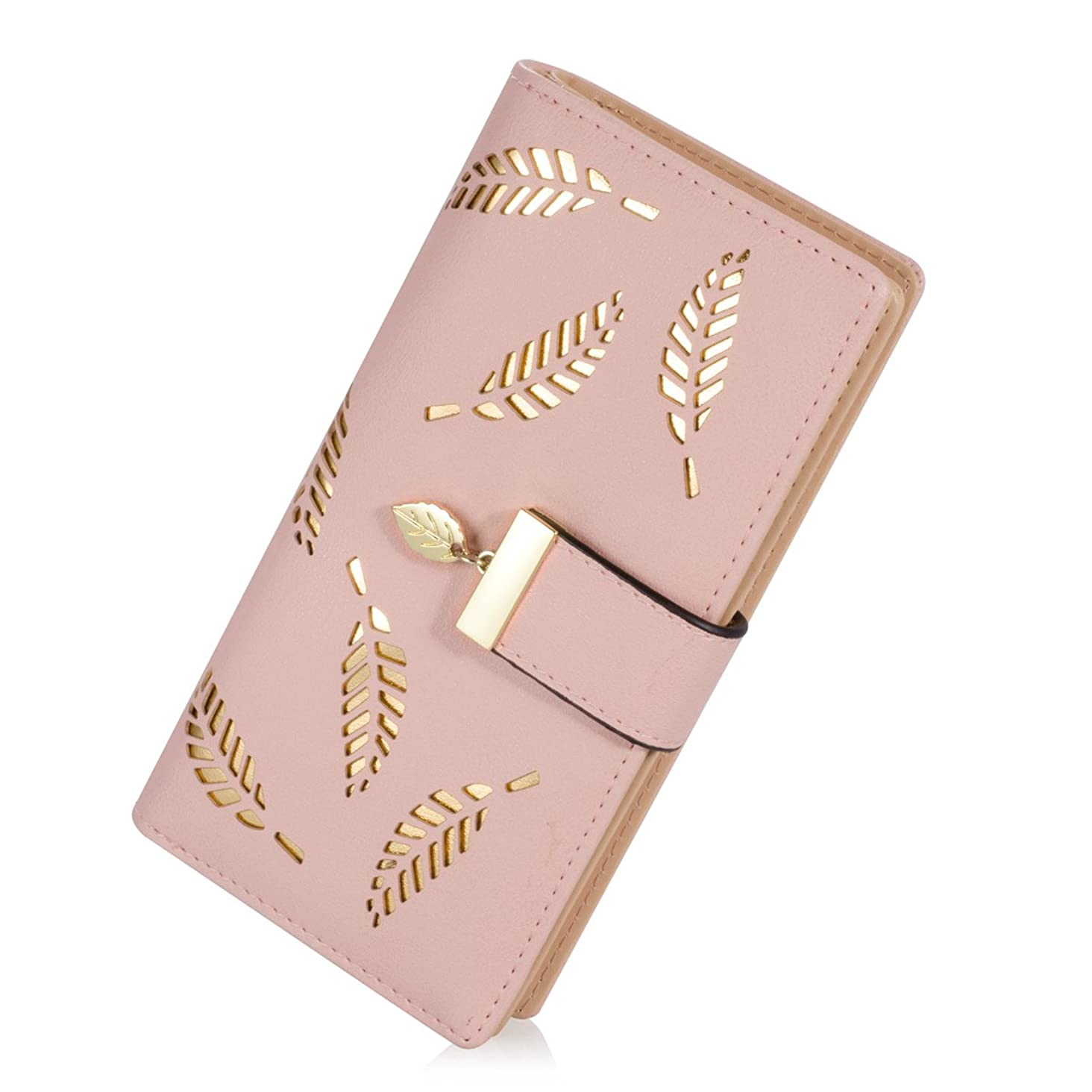 PGXT Women's Long Leather Card Holder Purse Zipper Buckle Elegant Clutch Wallet