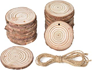 "R.FLOWER Natural Wood Slices Unfinished Unpainted Round Blank Wood Chips Wood Disc for DIY Craft Rustic Wedding Ornaments 20pcs 2""-2.4"""