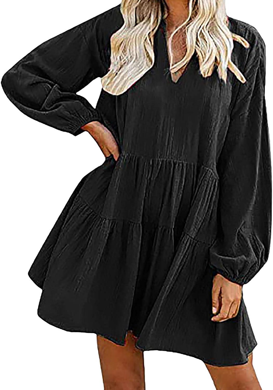 LADIGASU Women Casual Tshirt Dresses Solid Woman Loose V Neck Mini Babydoll Dress Long Sleeve Tunic Dress