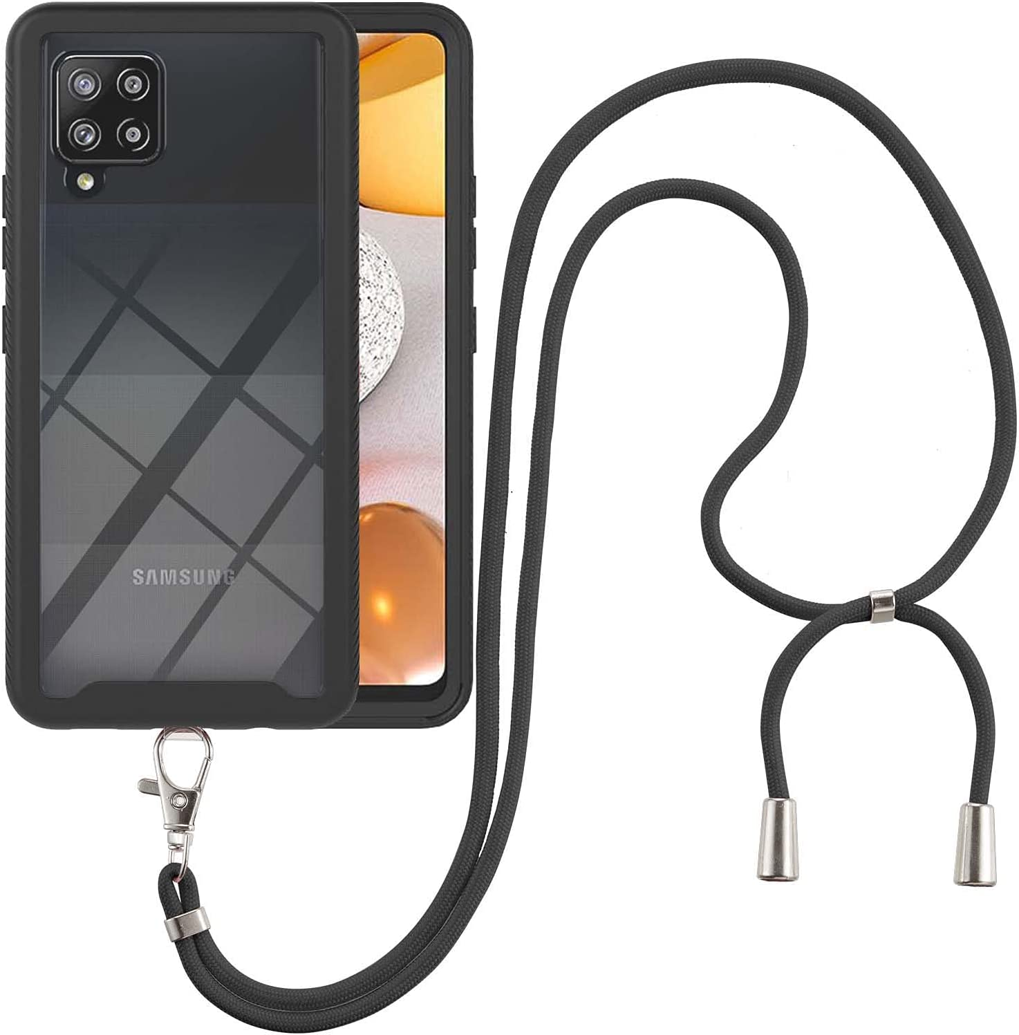 Samsung A42 5G Case, EabHulie Transparent Back No-Slip Bumper with Adjustable Crossbody Lanyard Strap Case, Shockproof Full Body Protection Cover for Samsung Galaxy A42 5G Black