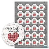 96 Stück kleine runde Aufkleber MIT LIEBE SELBSTGEMACHT rot gepunktetes Herz mit schwarz 4 cm -...