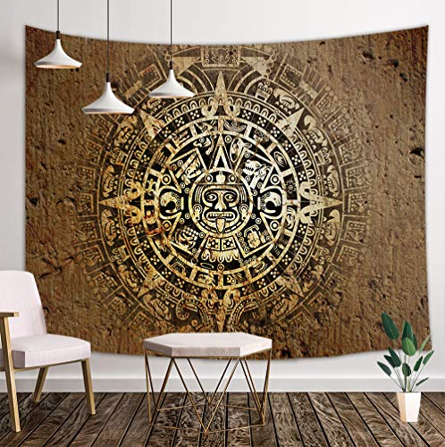 KOTOM Mandala Bohemian Tapestry Wall Hanging, Native Aztec Calendar Mayan Luck Sign in Vintage Wall Tapestry Art for Home Decorations Dorm Decor Living Room Bedroom Bedspread (80'X60') (80X60in)