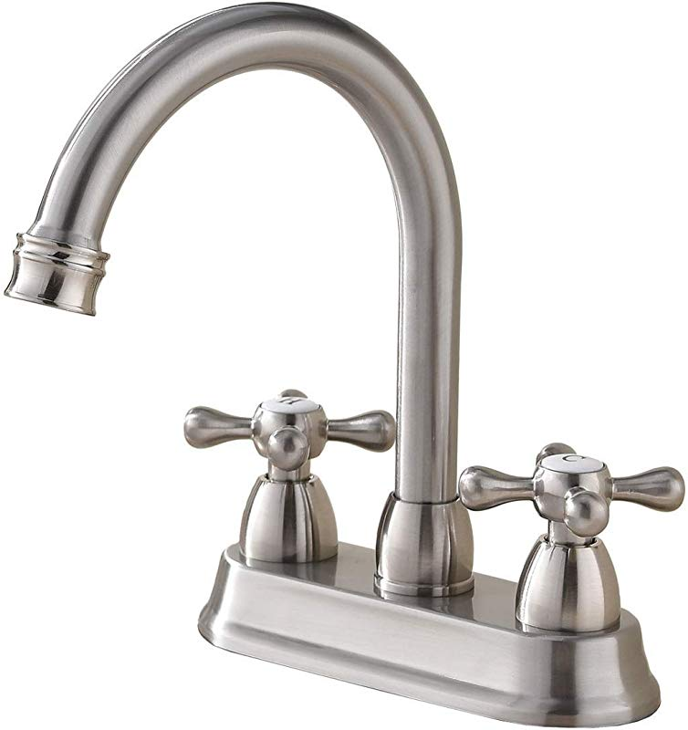 SHACO Best Commercial Brushed Nickel 2 Handle Centerset Bathroom Faucet Stainless Steel Bathroom Sink Faucet