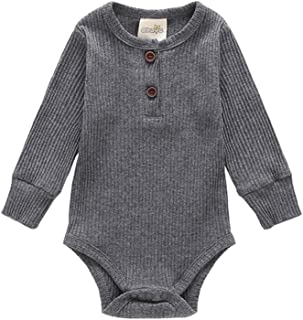 ALLAIBB Newborn Babies Autumn Long Sleeve Romper Solid Color Triangle Cotton Jumpsuit